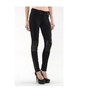MACKAGE COLLECTION Black leather knee patch pant 2